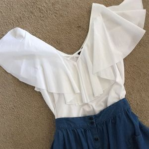 Who What Wear White Flutter Sleeve Knit Tank Top